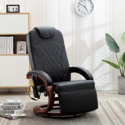 stradeXL Telewizyjny fotel masujący, regulowany, czarny, sztuczna skóra