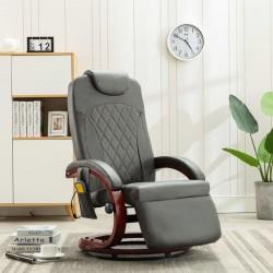 stradeXL Telewizyjny fotel masujący, regulowany, szary, sztuczna skóra