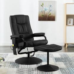 stradeXL Fotel masujący z podnóżkiem, czarny, sztuczna skóra