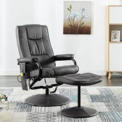 stradeXL Fotel masujący z podnóżkiem, szary, sztuczna skóra