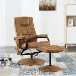 stradeXL Fotel masujący z podnóżkiem, brązowy, sztuczna skóra zamszowa