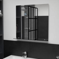 stradeXL Lustro ścienne z półką, 60x60 cm, hartowane szkło