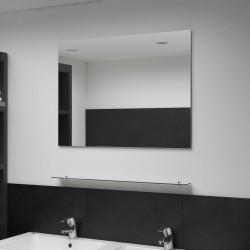 stradeXL Lustro ścienne z półką, 80x60 cm, hartowane szkło