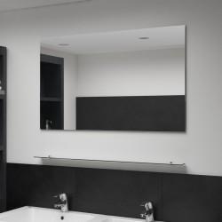 stradeXL Lustro ścienne z półką, 100x60 cm, hartowane szkło