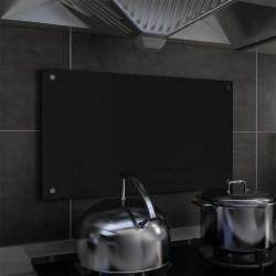 stradeXL Panel ochronny do kuchni, czarny, 70x40 cm, szkło hartowane