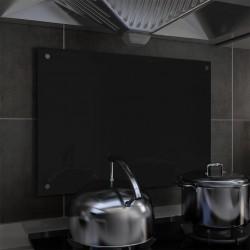 stradeXL Panel ochronny do kuchni, czarny, 70x50 cm, szkło hartowane