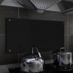 stradeXL Panel ochronny do kuchni, czarny, 80x40 cm, szkło hartowane