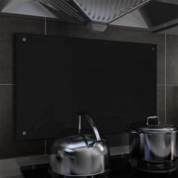 stradeXL Kitchen Backsplash Black 80x50 cm Tempered Glass