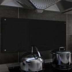 stradeXL Panel ochronny do kuchni, czarny, 90x40 cm, szkło hartowane