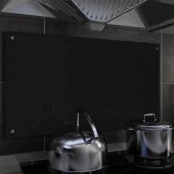 stradeXL Panel ochronny do kuchni, czarny, 90x50 cm, szkło hartowane