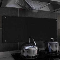 stradeXL Panel ochronny do kuchni, czarny, 100x40 cm, szkło hartowane
