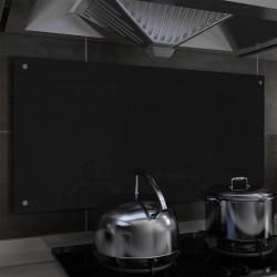 stradeXL Panel ochronny do kuchni, czarny, 100x50 cm, szkło hartowane