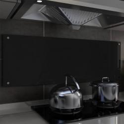 stradeXL Panel ochronny do kuchni, czarny, 120x40 cm, szkło hartowane