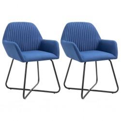 stradeXL Krzesła do jadalni, 2 szt., niebieskie, tapicerowane tkaniną