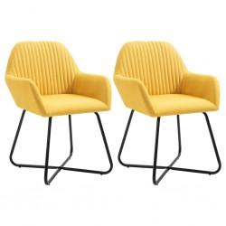 stradeXL Krzesła do jadalni, 2 szt., żółte, tapicerowane tkaniną