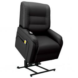 stradeXL Rozkładany fotel masujący, podnoszony, czarny, sztuczna skóra