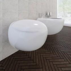 stradeXL Toaleta wisząca z bidetem, biała, ceramiczna