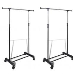 stradeXL Adjustable Clothes Racks 2 pcs 1 Hanging Rail