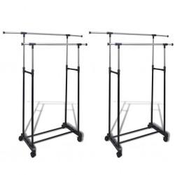 stradeXL Adjustable Clothes Racks 2 pcs 2 Hanging Rails