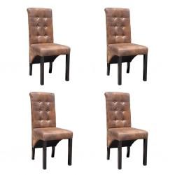 stradeXL Krzesła stołowe, 4 szt., brązowe, sztuczna skóra