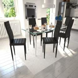 stradeXL Krzesła stołowe, 6 szt., czarne, sztuczna skóra