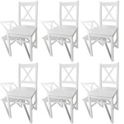 stradeXL Krzesła stołowe, 6 szt., białe, drewno sosnowe