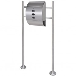 Mailbox on Stand Stainless Steel