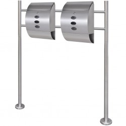 Double Mailbox on Stand Stainless Steel