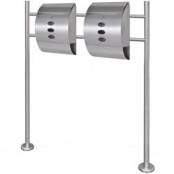 Podwójna skrzynka na listy ze stali nierdzewnej na stojaku