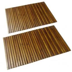 stradeXL Mata prysznicowa z drewna akacjowego, 2 sztuki, 80 x 50 cm