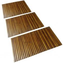 Mata prysznicowa z drewna akacjowego, 3 sztuki, 80 x 50 cm