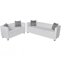 stradeXL Zestaw sof ze skóry syntetycznej: 3-osobowa i 2-osobowa, biały