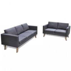 stradeXL Zestaw sof: 2-osobowa i 3-osobowa, materiałowe, ciemnoszare