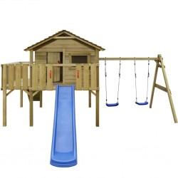 stradeXL Domek dla dzieci z drabinką, zjeżdżalnią i huśtawkami, z drewna