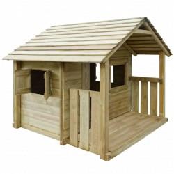 stradeXL Domek dla dzieci z 3 oknami, 204x204x184 cm, drewniany