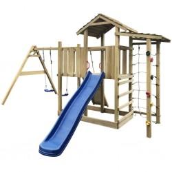stradeXL Plac zabaw ze zjeżdżalnią, drabinką i huśtawkami, drewniany
