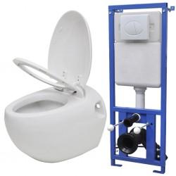 stradeXL Podwieszana toaleta owalna, ze zbiornikiem, biała