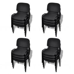 stradeXL Krzesła biurowe tapicerowane tkaniną 16 szt., sztaplowane, czarne