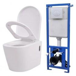 stradeXL Podwieszana toaleta ceramiczna ze spłuczką, biała
