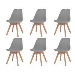 stradeXL Krzesła stołowe, 6 szt., szare, sztuczna skóra