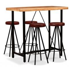 stradeXL Meble barowe z litego drewna akacjowego i skóry, 5 elementów