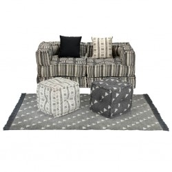 stradeXL Sofa modułowa z akcesoriami, 9 elementów, tkanina w paski