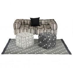 stradeXL Sofa modułowa z akcesoriami, 6 elementów, tkanina w paski