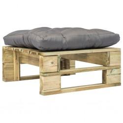 stradeXL Ogrodowe siedzisko z palet z szarą poduszką, drewno
