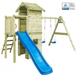 stradeXL Plac zabaw z drabinką, zjeżdżalnią i huśtawkami, drewno