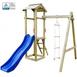 stradeXL Plac zabaw, zjeżdżalnia i drabinki, drewno, 237x168x218 cm