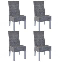 stradeXL Krzesła stołowe, 4 szt., szare, rattan Kubu i drewno mango