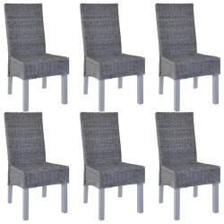 stradeXL Krzesła stołowe, 6 szt., szare, rattan Kubu i drewno mango