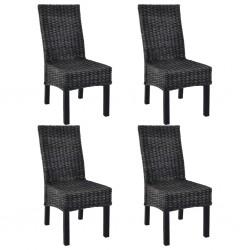 stradeXL Krzesła stołowe, 4 szt., czarne, rattan Kubu i drewno mango