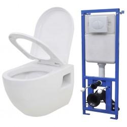 stradeXL Toaleta podwieszana ze spłuczką podtynkową, ceramiczna, biała